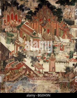Vessantara Jataka, Wat Suwannaram, Thonburi, Thailand, Southeast Asia, Asia - Stock Photo