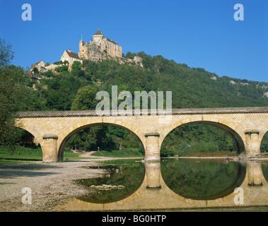 Castelnaud Castle and River Dordogne, Dordogne,  Aquitaine, France, Europe - Stock Photo