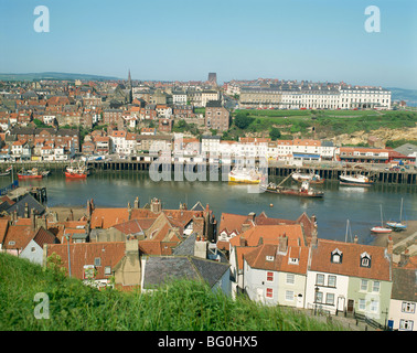 View over Whitby from St. Mary's Parish Church, North Yorkshire, Yorkshire, England, United Kingdom, Europe - Stock Photo