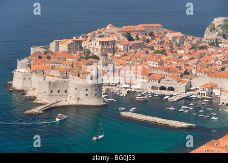 Old Town and Old Port, UNESCO World Heritage Site, seen from the hills to the southeast, Dubrovnik, Croatia, Europe - Stock Photo