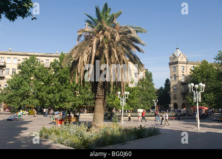 Fountains Square, the main open area in the middle of the city, Baku, Azerbaijan, Central Asia, Asia - Stock Photo