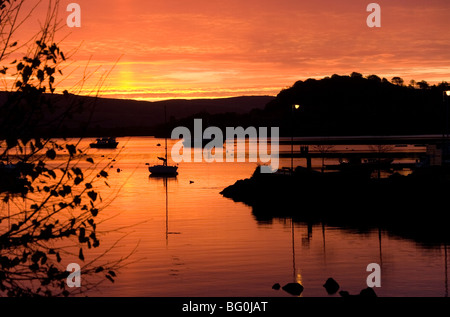 Sunrise over Tobermory Harbour and Calve Island in the Sound of Mull, Tobermory, Mull, Inner Hebrides, Scotland, - Stock Photo