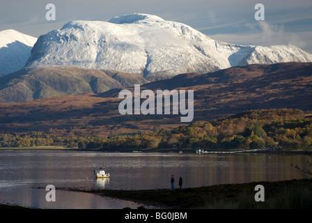 Ben Nevis range, seen from Loch Eil, Grampians, western Scotland, United Kingdom, Europe - Stock Photo