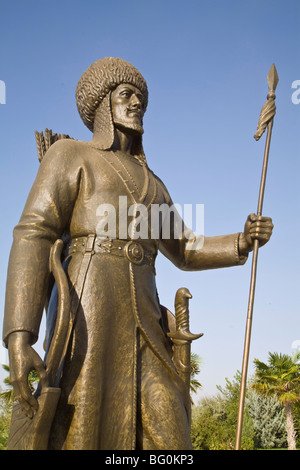 Statue, The monument to the Independence of Turkmenistan, Independence Park Berzengi, Ashkabad, Turkmenistan, Central - Stock Photo