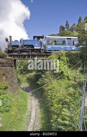 Steam train (Toy Train) of the Darjeeling Himalayan Railway, Batasia Loop, Darjeeling, West Bengal, India, Asia - Stock Photo