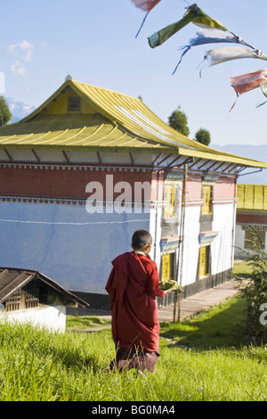 Novice monk carries offering to Sangachoeling Gompa, the second oldest Gompa in Sikkim, Pelling, Sikkim, India, - Stock Photo