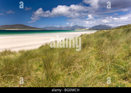 Seilebost at low tide and the hills of Taransay and North Harris, from Seilebost, Isle of Harris, Outer Hebrides, - Stock Photo