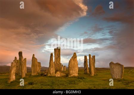 Standing Stones of Callanish at dawn, Callanish, near Carloway. Isle of Lewis, Scotland, United Kingdom, Europe - Stock Photo