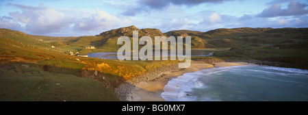 Evening light on Dalbeg Beach with Loch Dalbeg behind, Dalbeg, Isle of Lewis, Outer Hebrides, Scotland, United Kingdom, - Stock Photo