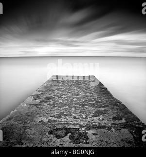 Concrete jetty on Blyth Beach, Northumberland, England, United Kingdom, Europe - Stock Photo