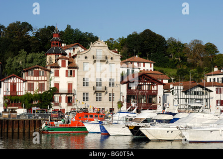 Old colourful buildings along marina, Ciboure, Pyrenees Atlantique, France, Europe - Stock Photo