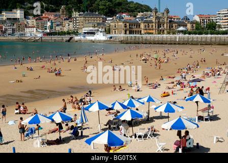 Beach and town view, San Sebastian, Basque country, Euskadi, Spain, Europe - Stock Photo