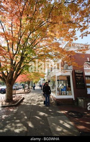 Main Street, East Hampton, the Hamptons, Long Island, New York State, United States of America, North America - Stock Photo