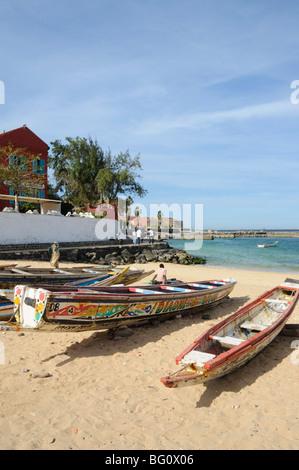 Pirogues (fishing boats) on beach, Goree Island, near Dakar, Senegal, West Africa, Africa - Stock Photo