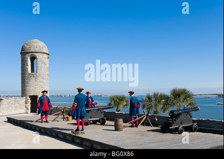 Gun firing demonstration on the San Carlos Bastion in the Castillo de San Marcos, St Augustine, Florida, USA - Stock Photo