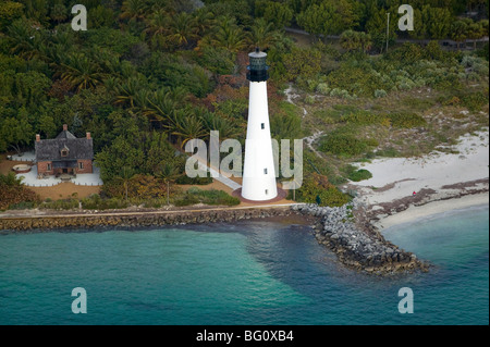 aerial view above Cape Florida Lighthouse Bill Baggs State Park and Recreation Area Key Biscayne Florida - Stock Photo