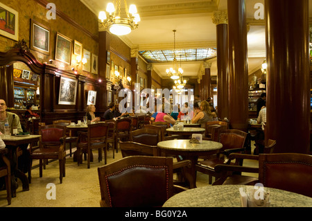 Cafe Tortoni, a famous tango cafe restaurant located on Avenue de Mayo, Buenos Aires, Argentina, South America - Stock Photo