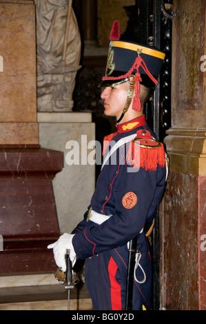 Guard at Mausoleum of General Jose de San Martin, Metroplitan Cathedral, Plaza de Mayo, Buenos Aires, Argentina - Stock Photo