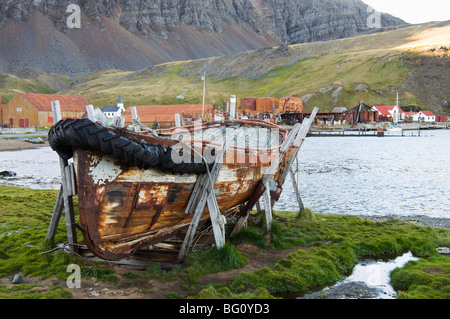 Old whaling station, Grytviken, South Georgia, South Atlantic - Stock Photo