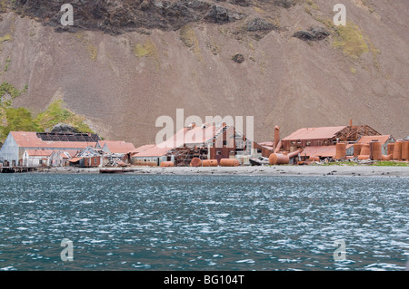 Old whaling station at Stromness Bay, South Georgia, South Atlantic - Stock Photo