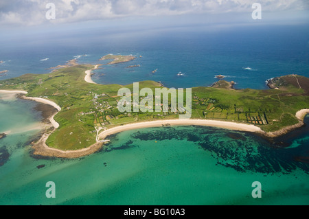 Aerial shot of St. Martins, Isles of Scilly, Cornwall, United Kingdom, Europe - Stock Photo