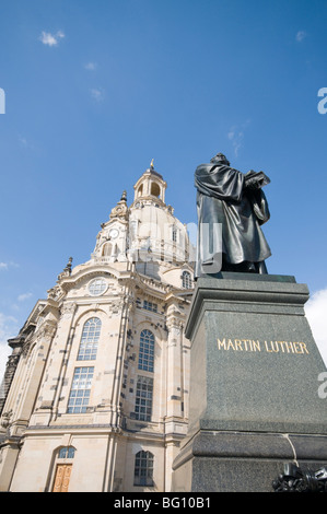 Frauenkirche (Church of Our Lady) with statue of Martin Luther, Dresden, Saxony, Germany, Europe - Stock Photo