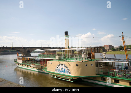 Paddle steamship on Elbe River, Dresden, Saxony, Germany, Europe - Stock Photo