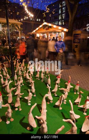 UK, England, Manchester, Albert Square, Brazennose Street market, carved wooden duck stall - Stock Photo