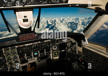 The beautiful Himalaya mountains seen from the air. - Stock Photo