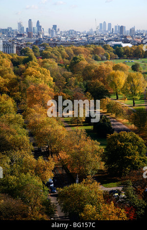 Aerial view over Hyde Park towards West End and the City of London, London, UK - Stock Photo