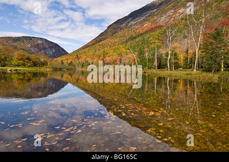 Autumn colours reflected in Willey Pond, Crawford Notch State Park route 302, White Mountains, New Hampshire, New - Stock Photo