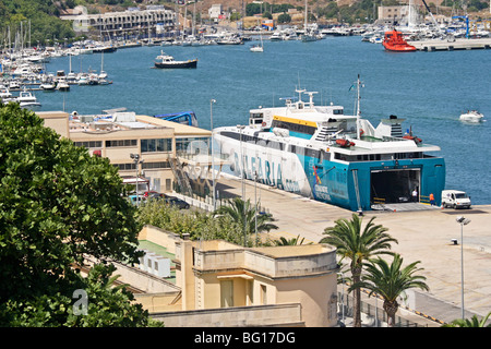 Balearia Car ferry (Ramon Llull) ( Mahon - Barcelona route), Mahon Harbour, Menorca, Spain - Stock Photo