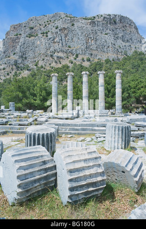 Ancient Roman ruins of Athena Temple, Priene, Anatolia, Turkey, Asia Minor, Eurasia - Stock Photo
