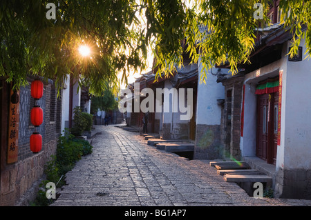 Sunrise on a cobbled streets in Lijiang Old Town, UNESCO World Heritage Site, Yunnan Province, China, Asia - Stock Photo