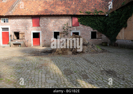 manure pile at farm - Stock Photo