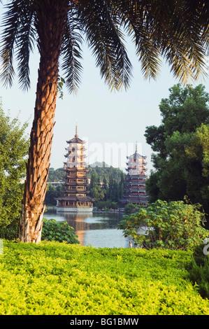 Banyan Lake Pagodas, Guilin, Guangxi Province, China, Asia - Stock Photo
