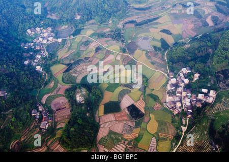 Aerial view from a hot air balloon of rice fields and villages in Yangshuo, near Guilin, Guangxi Province, China, - Stock Photo