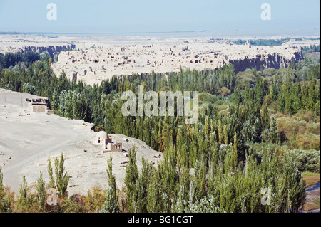Ruined city of Jiaohe, in Turpan on the Silk Route, UNESCO World Heritage Site, Xinjiang Province, China, Asia - Stock Photo