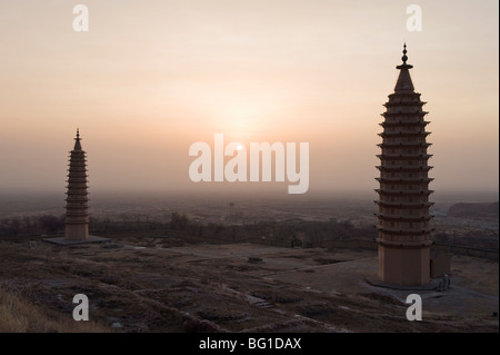 Twin Pagodas of Baishikou near Yinchuan, Ningxia Province, China, Asia - Stock Photo