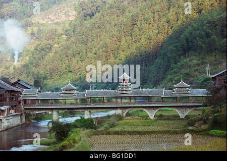 Wind and Rain bridge at Diping, Guizhou Province, China, Asia - Stock Photo