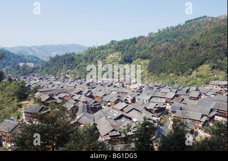 Traditional wooden houses in Zhaoxing Dong ethnic village, Guizhou Province, China, Asia - Stock Photo