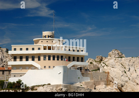 Boat-Shaped Pilotage Station Building in Shape of Ship or Boat, Île Ratonneau Island, Frioul, Marseille or Marseilles, - Stock Photo