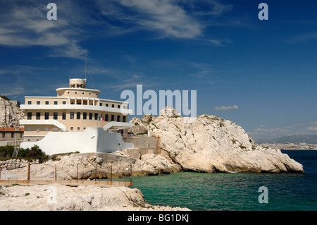 Boat-Shaped Pilotage Station Building in Shape of Ship or Boat, Île Ratonneau Island, Frioul, Marseille Marseilles, - Stock Photo