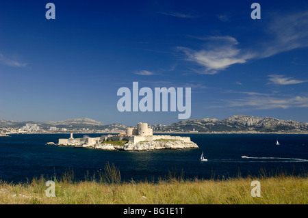 Château d'If and Island, Fort or Castle in Bay of Marseille or Marseilles, Frioul Archipelago, Provence, France - Stock Photo