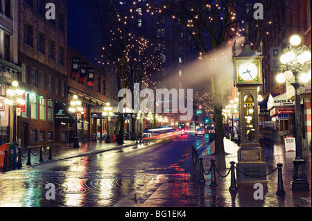 The Steam Clock at night on Water Street, Gastown, Vancouver, British Columbia, Canada, North America - Stock Photo