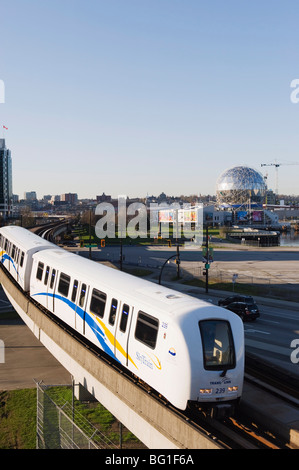 The SkyTrain in front of Telus Science World, Vancouver, British Columbia, Canada, North America - Stock Photo