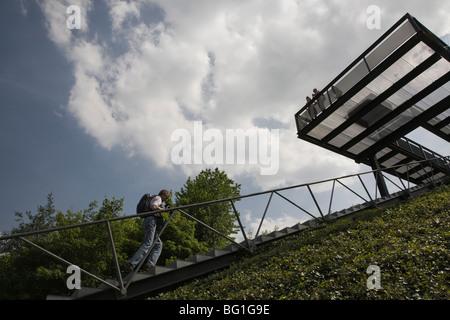 Aufgang, stairs, Halde Hoheward, Herten, Recklinghausen, Ruhrgebiet - Stock Photo
