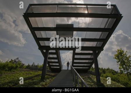 Aufgang, staircase, Halde Hoheward, Herten, Recklinghausen, Ruhrgebiet - Stock Photo