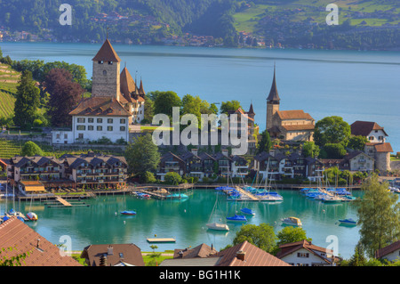 Spiez on the Thunersee in the Canton of Bern,Switzerland - Stock Photo