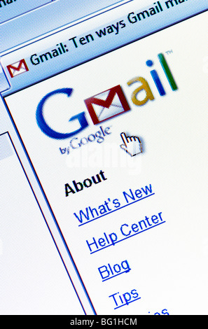 Screenshot of the GMail website (aka Google Mail) - the free email service run by internet giant Google. Editorial - Stock Photo